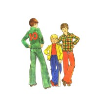 1970s Boys Pants Jacket Applique Transfer Butterick 3823 Vintage Sewing Pattern Size 7
