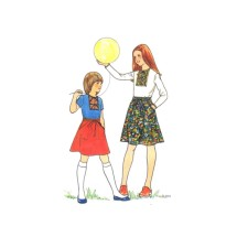 1970s Girls T-Shirt Back Wrap Skirt Butterick 5277 Vintage Sewing Pattern Size 10 Breast 28 1/2