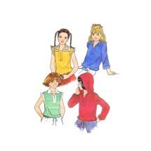1970s Girls Hoodie Top Butterick 5937 Vintage Sewing Pattern Size 10 Breast 28 1/2