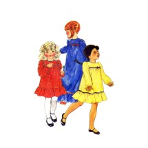 1980s Girls Dress in Two Lengths Butterick 3598 Vintage Sewing Pattern Size 4 Breast 23