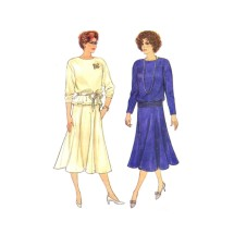 1980s Misses Top and Skirt Butterick 3409 Vintage Sewing Pattern Size 14 - 16 - 18