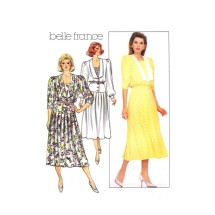 Misses Pleated Skirt Dress Belle France Butterick 3737 Vintage Sewing Pattern Size 14 Bust 36