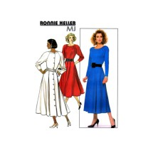 Ronnie Heller MJ Flared Pleated Skirt Dress Butterick 5714 Vintage Sewing Pattern Size 8 - 10 - 12