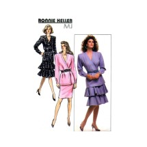 Ronnie Heller Misses Suprlice Wrap Top Tiered Skirt Butterick 5933 Vintage Sewing Pattern Size 6 - 8 - 10