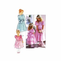 Girls Dropped Waist Ruffled Dress Butterick 3038 Vintage Sewing Pattern Size 7 - 8 - 10
