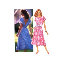 Misses V-Back Flared Dress Butterick 4071 Vintage Sewing Pattern Size 6 - 8 - 10