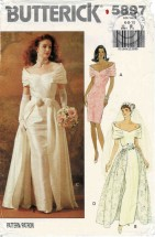 Misses Bridal Gown with Detachable Overskirt Butterick 5897 Vintage Sewing Pattern Size 6 - 8 - 10