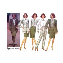 Evan-Picone Misses Jacket Blouse Mock Wrap Front Skirt Pants Butterick 6349 Sewing Pattern Size 6 - 8 - 10