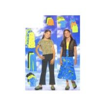 Girls Fitted Shirt Pullover Top A-line Skirt Boot Leg Pants Butterick 5447 Sewing Pattern Size 7 - 8 - 10