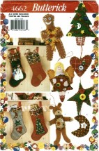 Butterick 4662 Crafts Sewing Pattern Button Stockings & Ornaments
