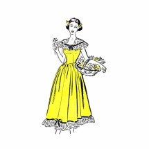 1940s Basque Full Skirt Ruffle Dress Country Gentleman 5067 Vintage Sewing Pattern Size 12 Bust 30
