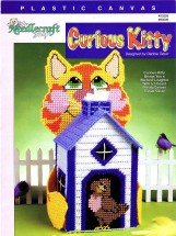 Curious Kitty Tissue Box Cover Plastic Canvas Leaflet