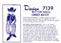 Mail Order Design 7139 Cowboy Mascot Multi-Stamp Transfer Vintage Sewing Pattern