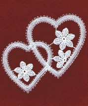 Double Heart Floral Lace Applique