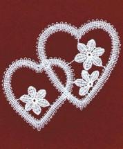 Double Heart Floral Lace Applique
