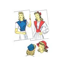 1940s Pillbox Hat Dutch Cap Girdle Bibette Suspender Accessory Set DuBarry 5311 Vintage Sewing Pattern Size Medium