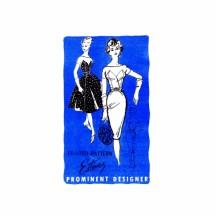 1950s Estevez Cocktail Dress with Slim or Full Skirt Prominent Designer M221 Vintage Sewing Pattern Size 12 Bust 32