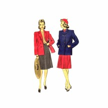 1940s Misses Double Breasted Coat Pleated Skirt Hollywood 1174 Vintage Sewing Pattern Size 18 Bust 36