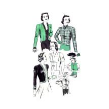 1940s Misses Short Fitted Sequin or Fur Trimmed Jacket Hollywood 1470 Vintage Sewing Pattern Size 18 Bust 36