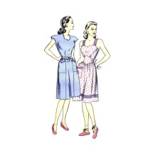 1940s Misses Wrapped Back Coverall Apron Sweetheart Neck Dress or Sundress Hollywood 1646 Vintage Sewing Pattern Size 12 Bust 30