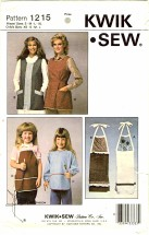 Kwik Sew 1215 Misses Aprons and Childs Aprons Towels
