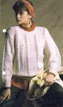 Lace and Moss-Stitch Sweater Knitting Pattern