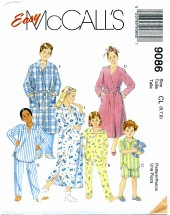 McCall's 9086 Robe Nightshirt Pajamas Size 6 - 8