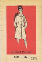 Mail Order 4705 Vintage Sewing Pattern Womens Lined Coat Half Size 22 1/2 Bust 45