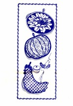 Chicken Pumpkin Sunflower Potholder Design 7131 Vintage Transfer Sewing Pattern