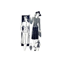 1940s Jacket Skirt Dress Mail Order 3654 Vintage Sewing Pattern Size 12 Bust 30