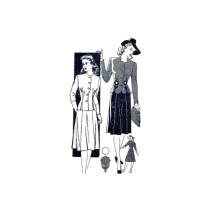 1940s Jacket Skirt Dress Mail Order 3654 Vintage Sewing Pattern Size 12 Bust 30