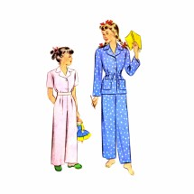 1940s Girls Two Piece Pajamas McCall 5021 Vintage Sewing Pattern Size 12 Breast 30