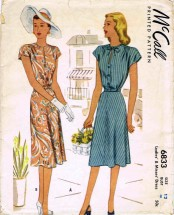 1940's McCall 6833 Sewing Pattern Misses Dress Size 12 - Bust 30