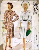Vintage 1940's McCall's 6879 Misses Shirtwaist Dress Size 14