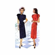 1940s Draped Peplum Dress McCall 6961 Vintage Sewing Pattern Size 14 Bust 34