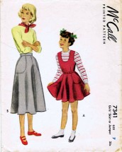1940's McCall 7341 Sewing Pattern Girls Skirt Jumper Size 7