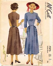 McCall 7375 Vintage Sewing Pattern Jewel Neck Dress Size 9 Bust 28