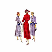 1940s Front Button Dress with Capelet McCall 7797 Vintage Sewing Pattern Size 18 Bust 36