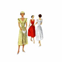 1950s V-Back Flared Dress McCall 7987 Vintage Sewing Pattern Size 12 Bust 30