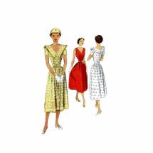1950s V-Back Flared Dress McCall 7987 Vintage Sewing Pattern Size 12 Bust 30