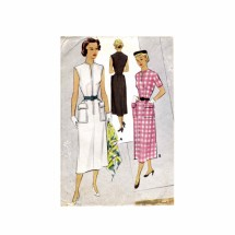 1950s Front Zippered Dress McCall 8037 Vintage Sewing Pattern Size 12 Bust 30