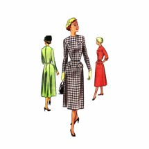 1950s Jewel Neck Dress McCall 8315 Vintage Sewing Pattern Size 13 Bust 31