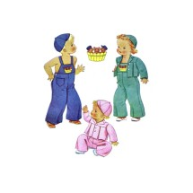 1940s Childs Overalls Jacket Cap McCall 832 Vintage Sewing Pattern Size 3