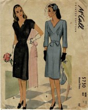 1940s Misses V-Neckline Dress McCalls 5730 Vintage Sewing Pattern Size 12 Bust 30