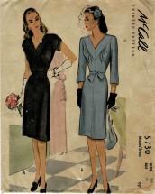 1940s Misses V-Neckline Dress McCalls 5730 Vintage Sewing Pattern Size 12 Bust 30