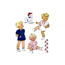 1940s Toddler Boys Girls Creeper Playsuit Romper Jumpsuit McCall 1237 Vintage Sewing Pattern Size 1