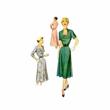 1950s Portrait Neckline Flared Dress McCalls 8514 Vintage Sewing Pattern Size 16 Bust 34