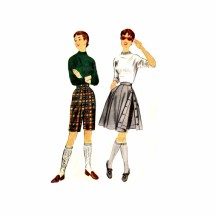 1950s Bermuda Shorts Side Buttoned Skirt McCalls 9975 Vintage Sewing Pattern Waist 26
