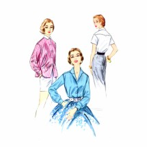 1950s Front Button Shirt McCalls 3276 Vintage Sewing Pattern Size 14 Bust 32
