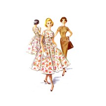 1950s Slim or Full Skirt Dress McCalls 4123 Vintage Sewing Pattern Size 13 Bust 33